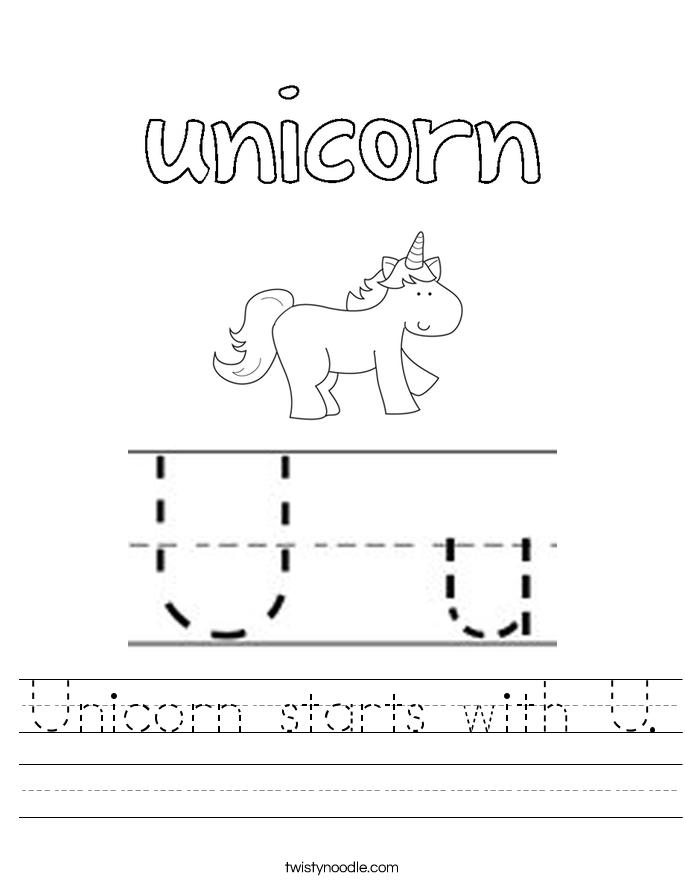 Unicorn starts with U Worksheet Twisty Noodle