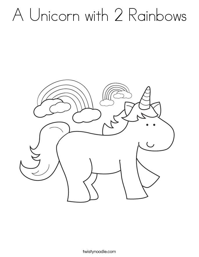 A Unicorn with 2 Rainbows Coloring Page