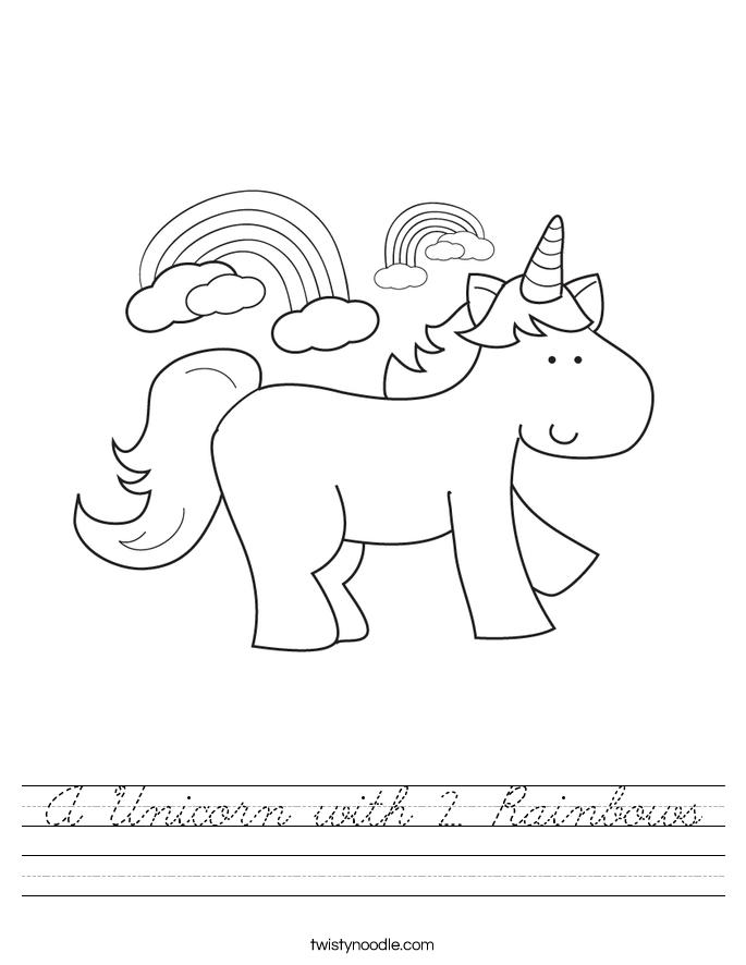 A Unicorn with 2 Rainbows Worksheet