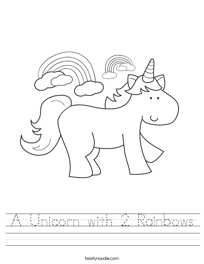 A Unicorn with 2 Rainbows Worksheet