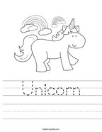 Unicorn Handwriting Sheet