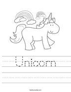 Unicorn Handwriting Sheet