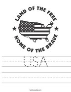USA Handwriting Sheet