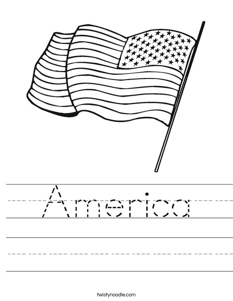 United States of America Flag Worksheet