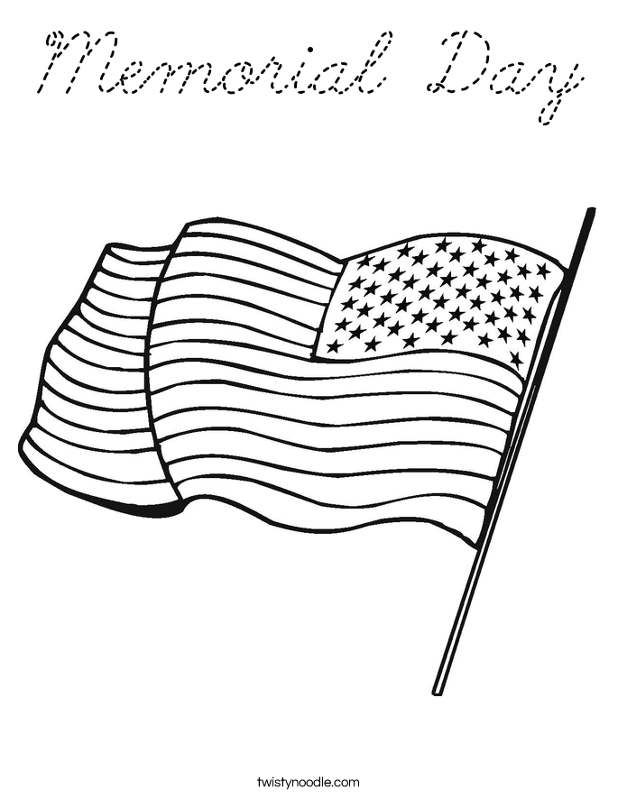 Memorial Day Coloring Page Cursive