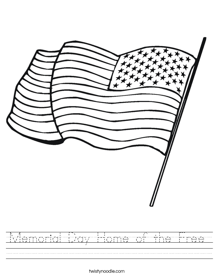 Memorial Day Home of the Free Worksheet