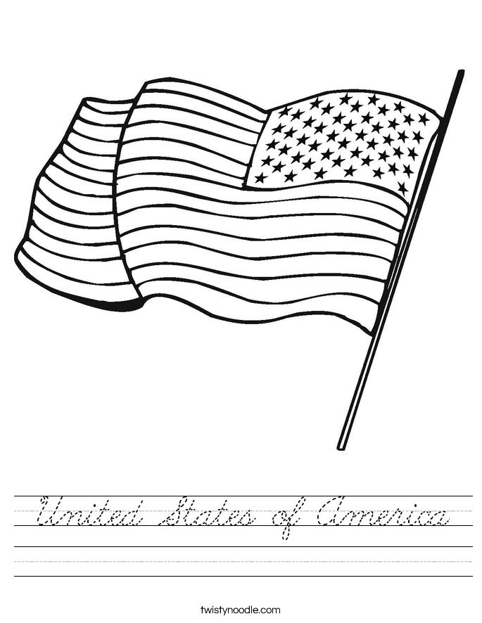 United States Of America Worksheet Cursive Twisty Noodle