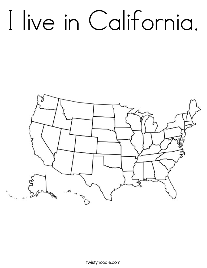 I live in California. Coloring Page