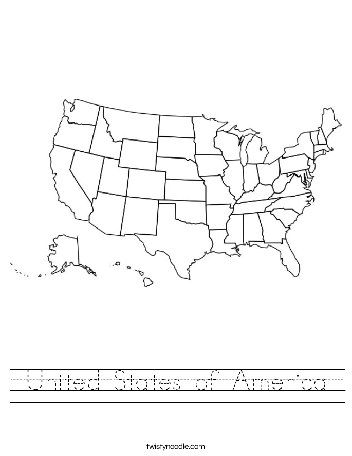 United States Coloring Page on Usa Free Christmas Worksheets