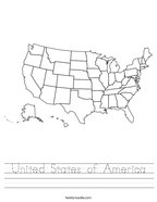 United States of America Handwriting Sheet