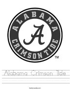 Alabama Crimson Tide Handwriting Sheet