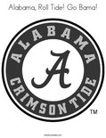 Alabama, Roll Tide! Go Bama! Coloring Page