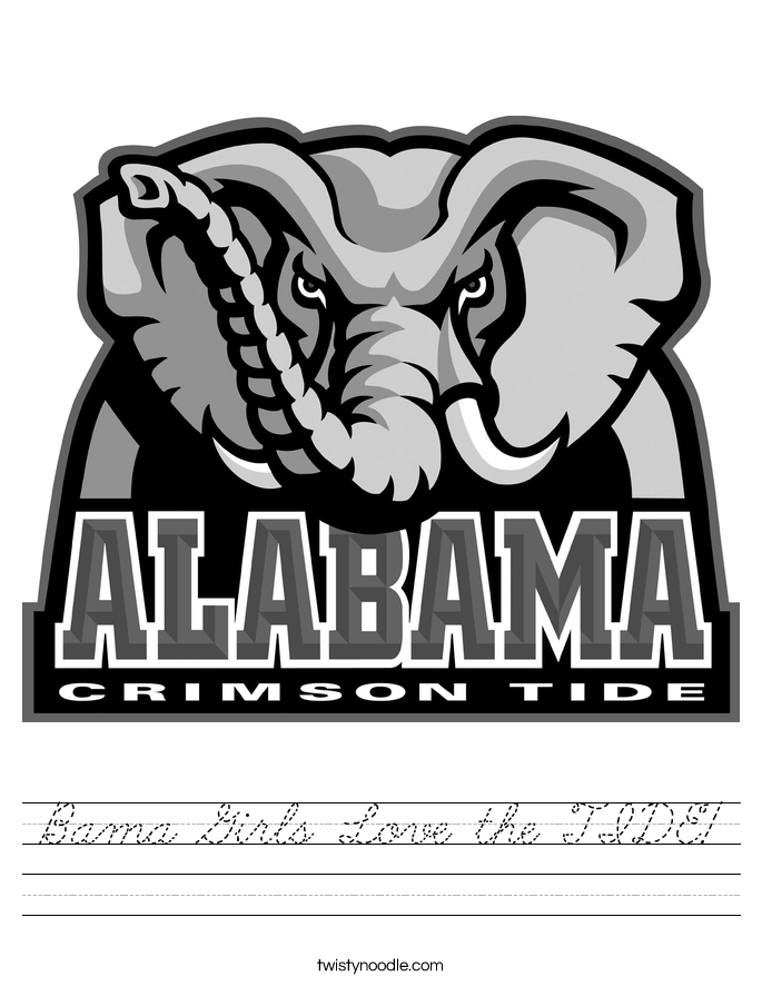 Bama Girls Love the TIDE! Worksheet