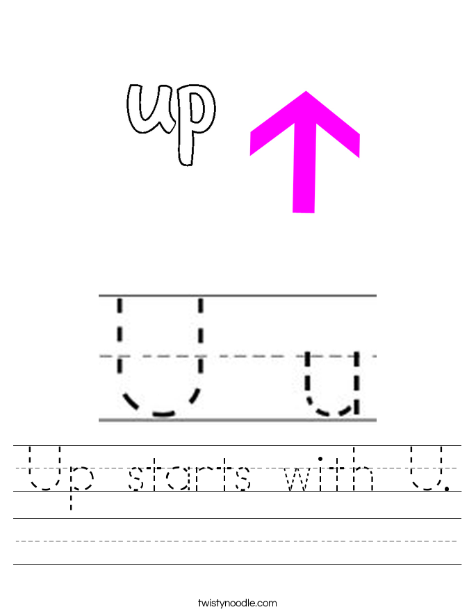 Up starts with U. Worksheet