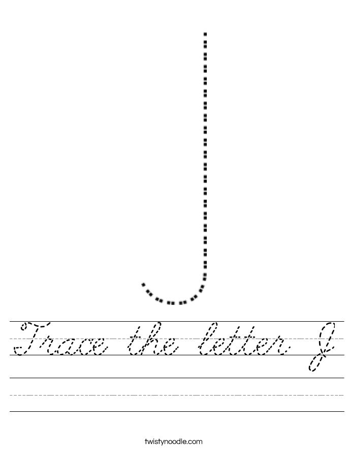 Trace the letter J Worksheet