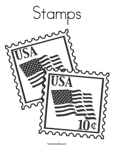 US Stamps with Flags Coloring Page