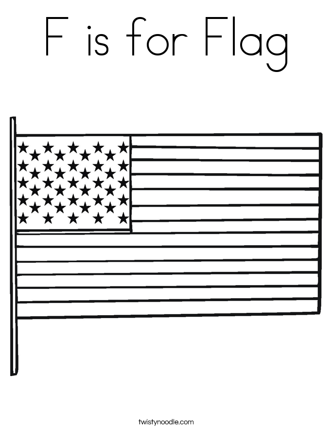F is for Flag Coloring Page Twisty