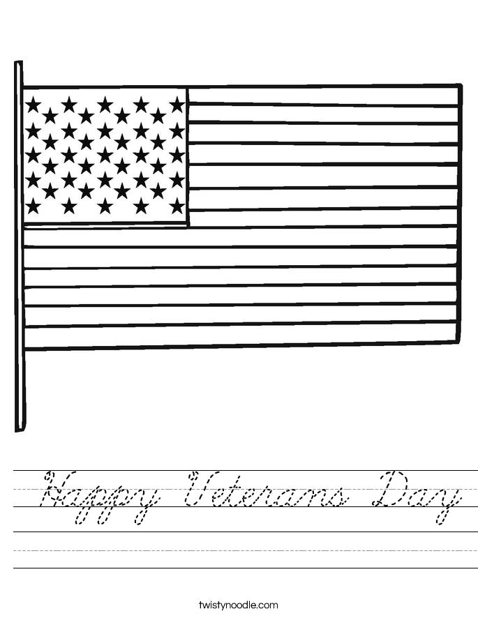 Happy Veterans Day Worksheet