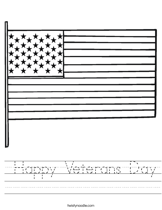 Happy Veterans Day Worksheet