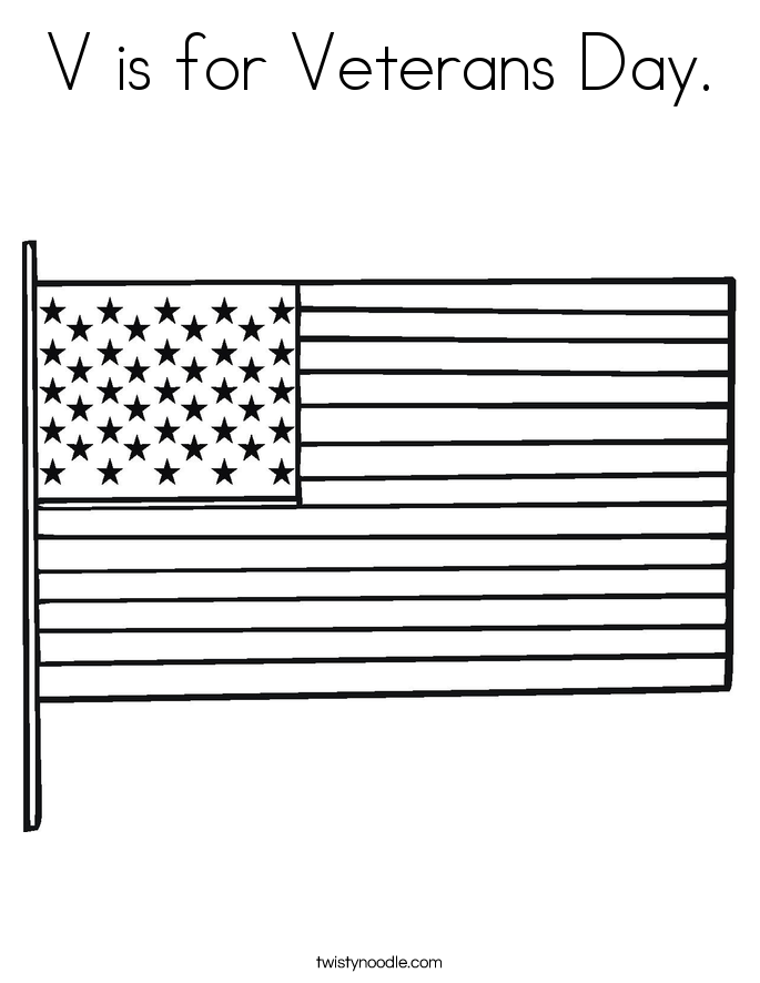 V is for Veterans Day. Coloring Page