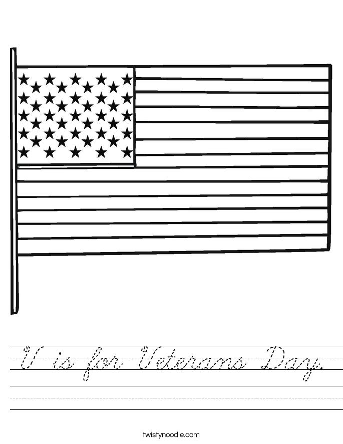V is for Veterans Day. Worksheet
