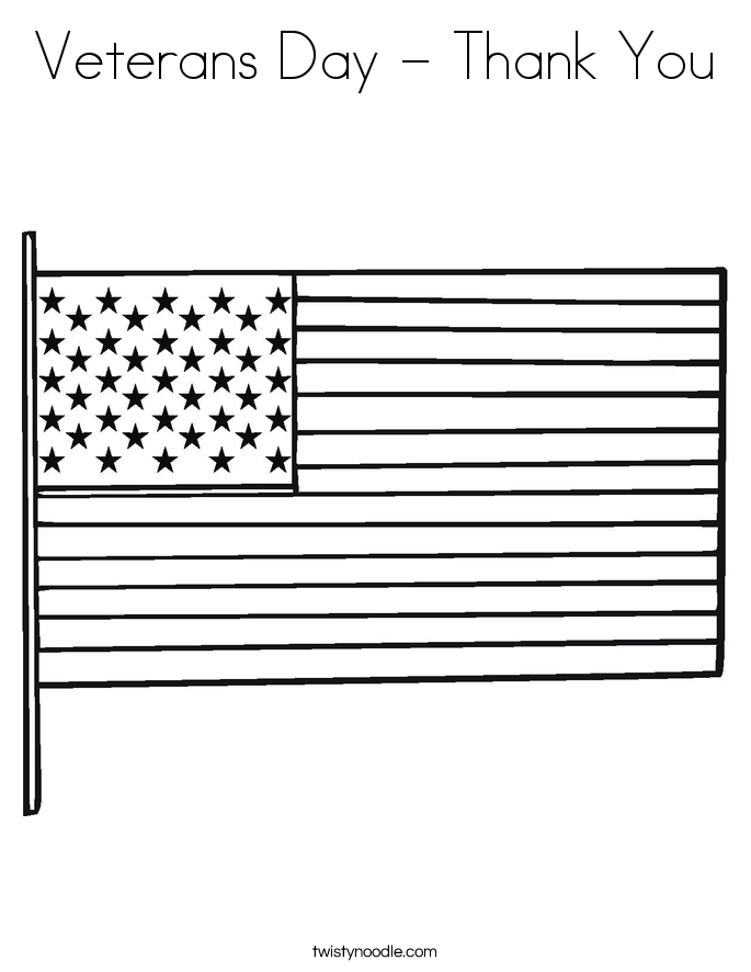Veterans Day - Thank You Coloring Page