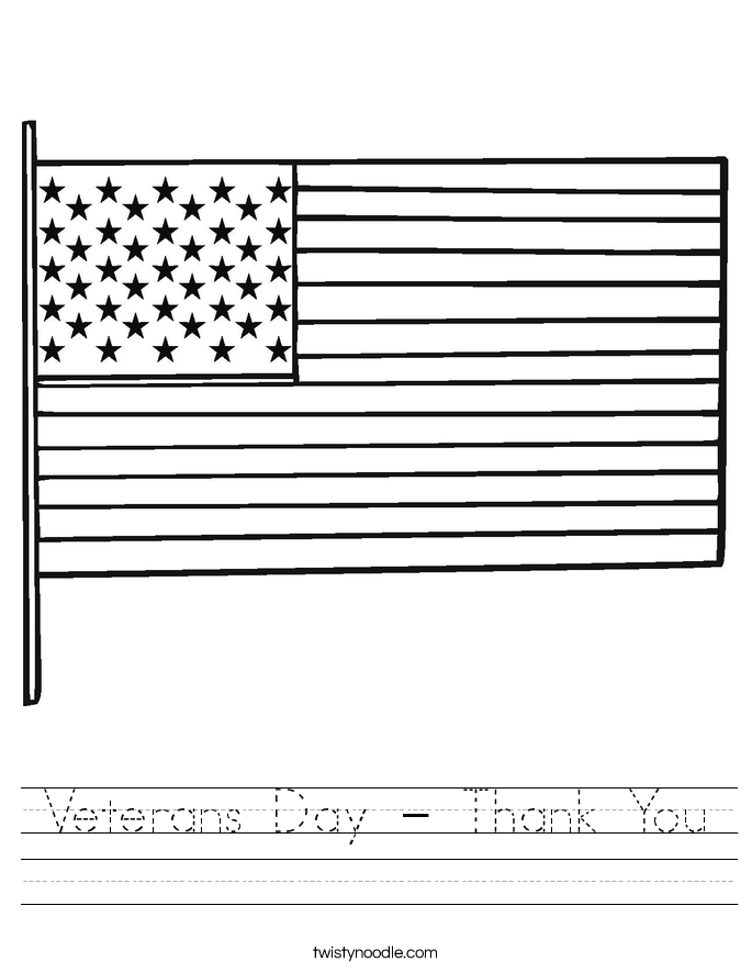 Veterans Day - Thank You Worksheet