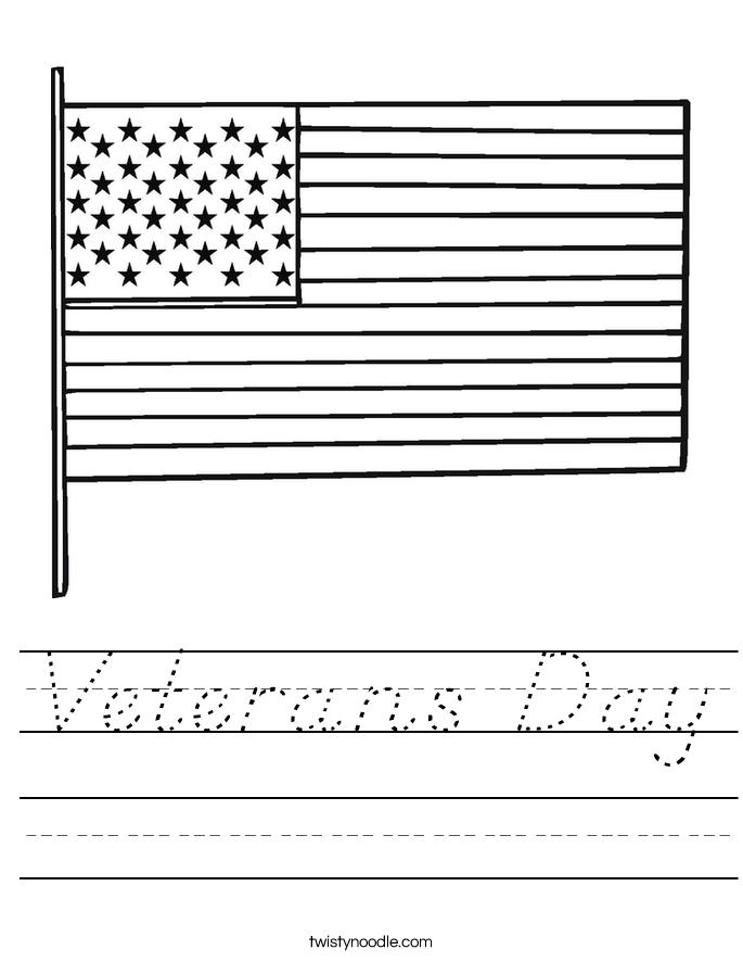 Veterans Day Worksheet - D'Nealian - Twisty Noodle