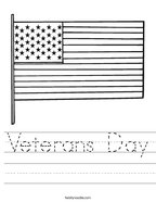 Veterans Day Handwriting Sheet