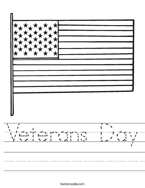 Veterans Day Worksheet - Twisty Noodle
