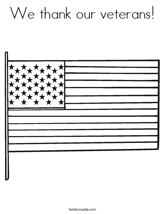 We thank our veterans! Coloring Page