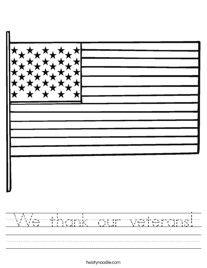 We thank our veterans! Worksheet