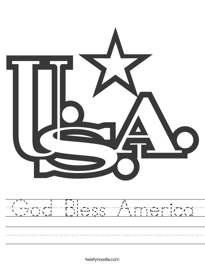 God Bless America Worksheet