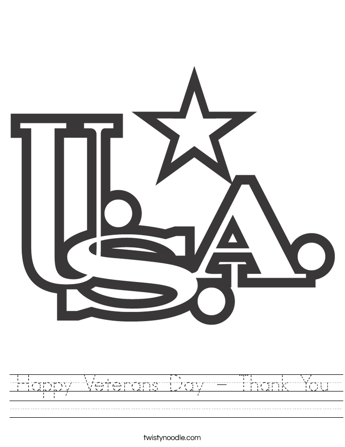 Happy Veterans Day - Thank You Worksheet