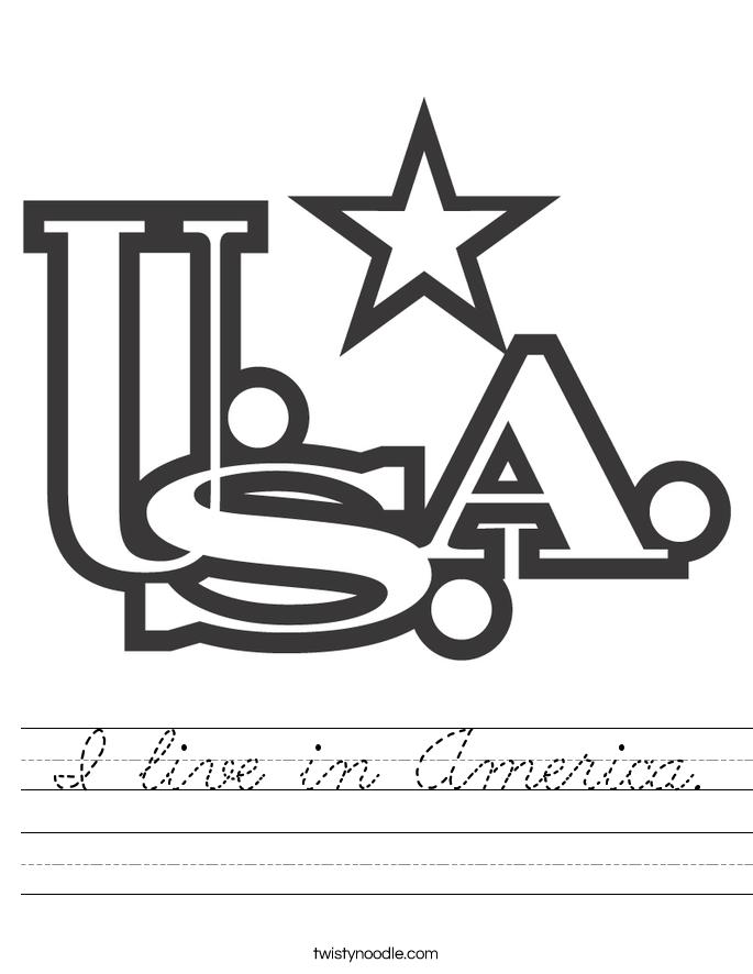I live in America. Worksheet