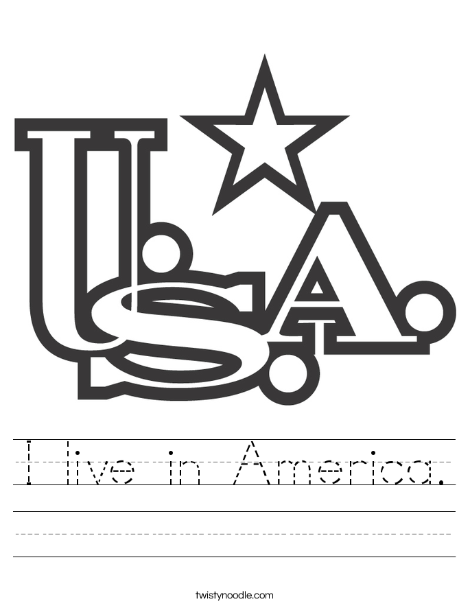 I live in America. Worksheet