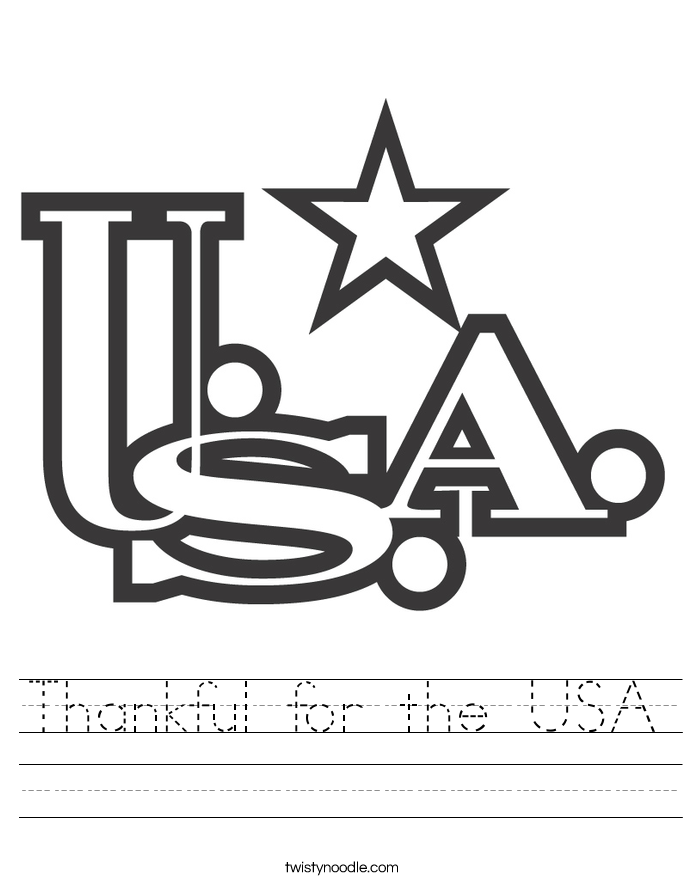 Thankful for the USA Worksheet
