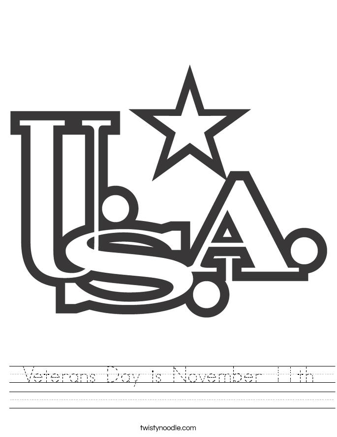 Veterans Day is November 11th Worksheet