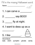 Fill in the missing Halloween word. Coloring Page
