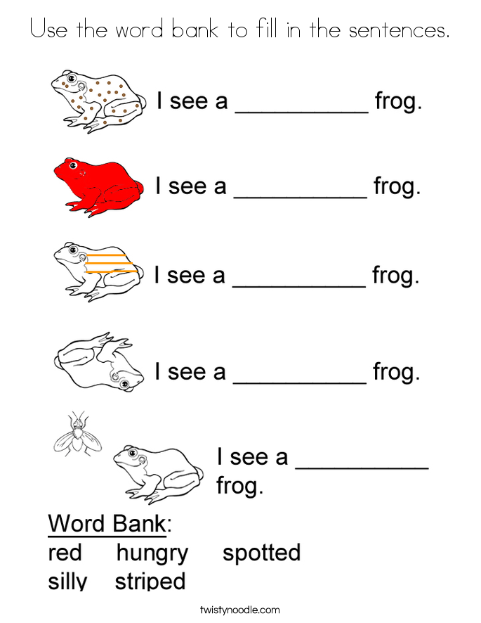 Use the word bank to fill in the sentences. Coloring Page