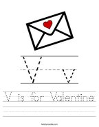 V is for Valentine Handwriting Sheet