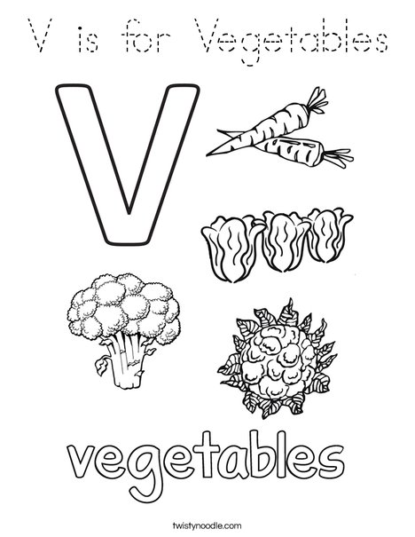 V is for Vegetables Coloring Page