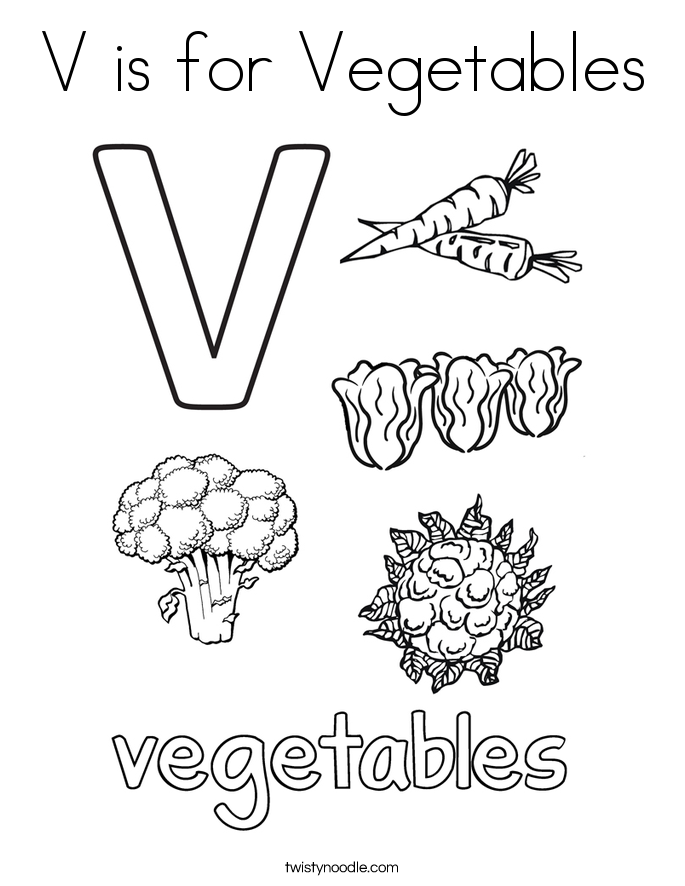 v is for vegetables coloring page - Vegetables Coloring Pages