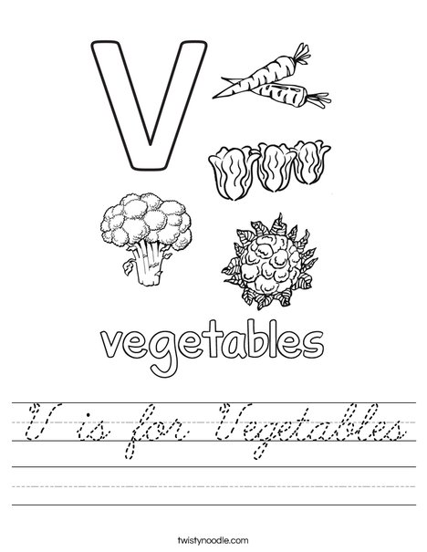 V is for Vegetables Worksheet