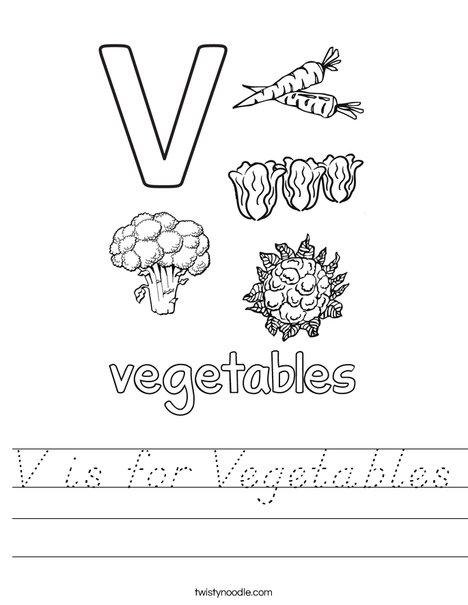V is for Vegetables Worksheet