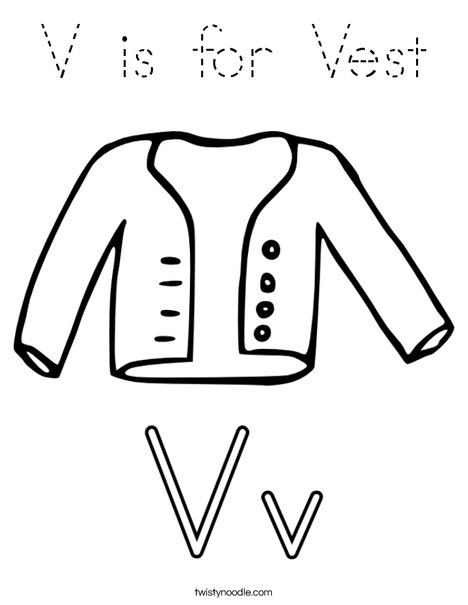 V is for Vest Coloring Page