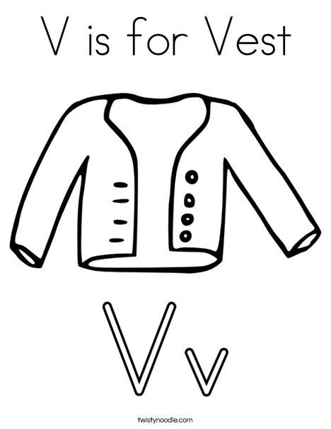 V is for Vest Coloring Page Twisty Noodle