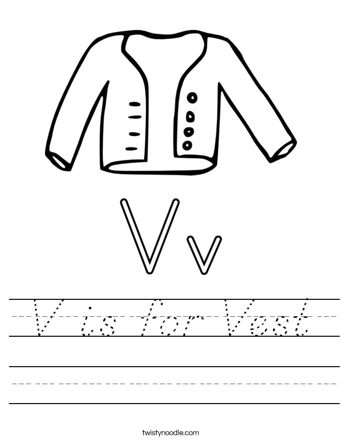 V is for Vest Worksheet