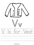 V is for Vest Handwriting Sheet