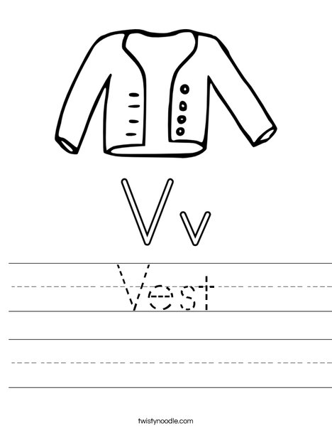 V is for Vest Worksheet